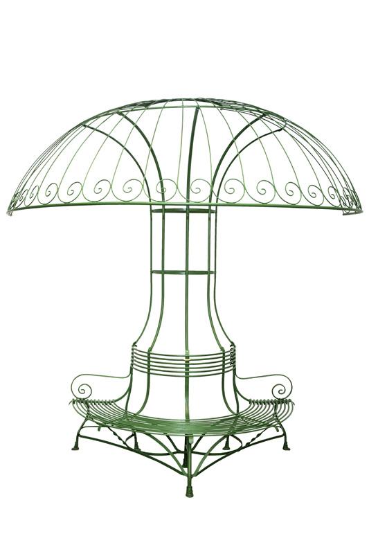 Bap1 banc de jardin tour d arbre avec demi parasol - Table de jardin avec parasol ...